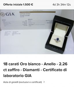 aste di diamanti e pietre preziose certificate
