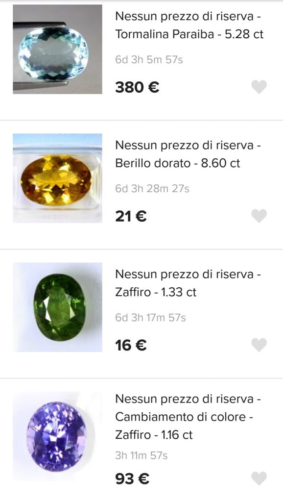 aste diamanti e pietre preziose con prezzo di riserva