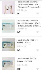 aste di diamanti offerte da 1 euro